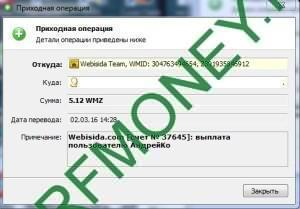 Выплаты Webisida